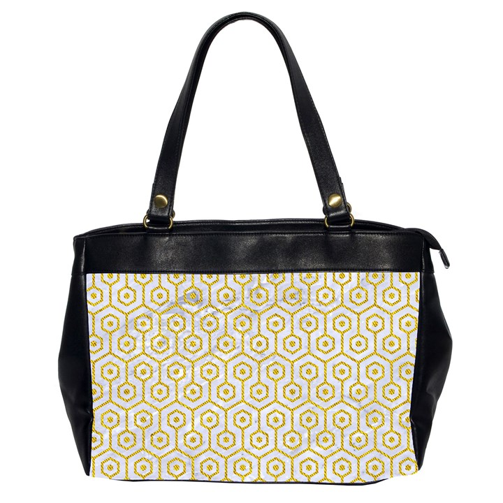 HEXAGON1 WHITE MARBLE & YELLOW DENIM (R) Office Handbags (2 Sides)