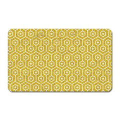 Hexagon1 White Marble & Yellow Denim Magnet (rectangular) by trendistuff