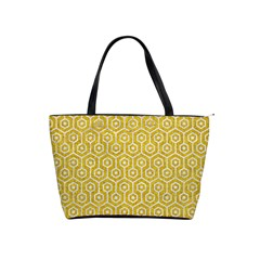 Hexagon1 White Marble & Yellow Denim Shoulder Handbags