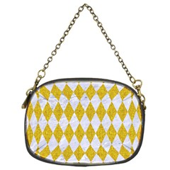 Diamond1 White Marble & Yellow Denim Chain Purses (two Sides)  by trendistuff
