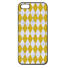 Diamond1 White Marble & Yellow Denim Apple Iphone 5 Seamless Case (black) by trendistuff