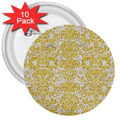 Damask2 White Marble & Yellow Denim (r) 3  Buttons (10 Pack)  by trendistuff