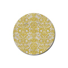 Damask2 White Marble & Yellow Denim (r) Rubber Round Coaster (4 Pack)  by trendistuff