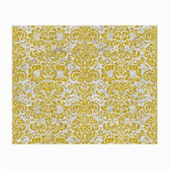 Damask2 White Marble & Yellow Denim (r) Small Glasses Cloth by trendistuff