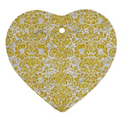 Damask2 White Marble & Yellow Denim (r) Heart Ornament (two Sides) by trendistuff