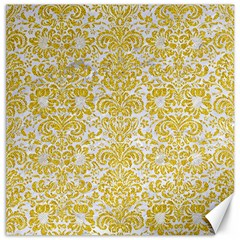 Damask2 White Marble & Yellow Denim (r) Canvas 16  X 16