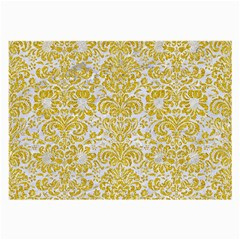 Damask2 White Marble & Yellow Denim (r) Large Glasses Cloth by trendistuff