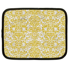 Damask2 White Marble & Yellow Denim (r) Netbook Case (large) by trendistuff