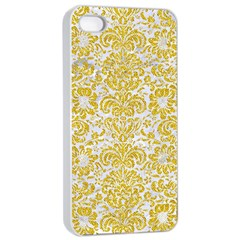 Damask2 White Marble & Yellow Denim (r) Apple Iphone 4/4s Seamless Case (white) by trendistuff