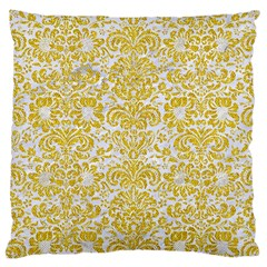 Damask2 White Marble & Yellow Denim (r) Large Cushion Case (one Side) by trendistuff
