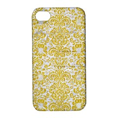 Damask2 White Marble & Yellow Denim (r) Apple Iphone 4/4s Hardshell Case With Stand by trendistuff