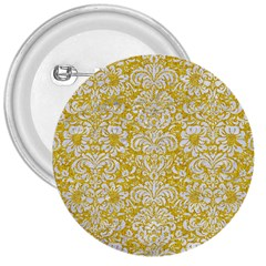 Damask2 White Marble & Yellow Denimhite Marble & Yellow Denim 3  Buttons by trendistuff