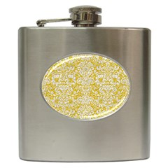 Damask2 White Marble & Yellow Denimhite Marble & Yellow Denim Hip Flask (6 Oz) by trendistuff