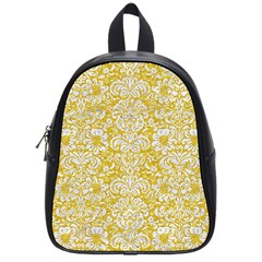Damask2 White Marble & Yellow Denimhite Marble & Yellow Denim School Bag (small) by trendistuff