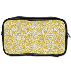 Damask2 White Marble & Yellow Denimhite Marble & Yellow Denim Toiletries Bags 2 Side by trendistuff