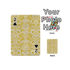 Damask2 White Marble & Yellow Denimhite Marble & Yellow Denim Playing Cards 54 (mini)  by trendistuff