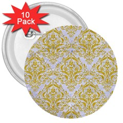 Damask1 White Marble & Yellow Denim (r) 3  Buttons (10 Pack)  by trendistuff