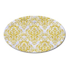 Damask1 White Marble & Yellow Denim (r) Oval Magnet by trendistuff