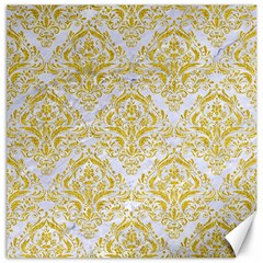 Damask1 White Marble & Yellow Denim (r) Canvas 16  X 16