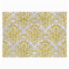 Damask1 White Marble & Yellow Denim (r) Large Glasses Cloth by trendistuff