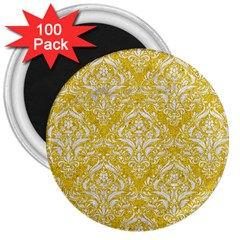 Damask1 White Marble & Yellow Denim 3  Magnets (100 Pack) by trendistuff