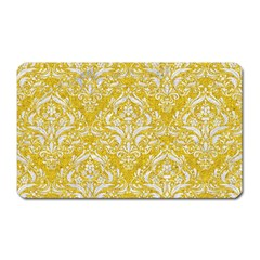 Damask1 White Marble & Yellow Denim Magnet (rectangular) by trendistuff