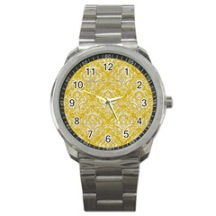Damask1 White Marble & Yellow Denim Sport Metal Watch