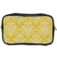 Damask1 White Marble & Yellow Denim Toiletries Bags 2 Side by trendistuff