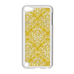 Damask1 White Marble & Yellow Denim Apple Ipod Touch 5 Case (white) by trendistuff