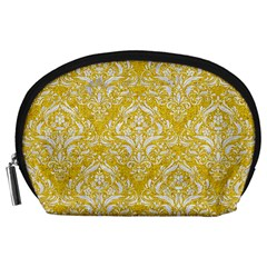 Damask1 White Marble & Yellow Denim Accessory Pouches (large)  by trendistuff