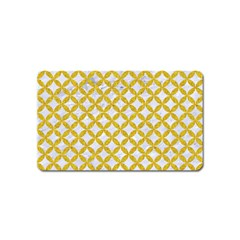 Circles3 White Marble & Yellow Denim (r) Magnet (name Card) by trendistuff