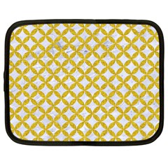 Circles3 White Marble & Yellow Denim (r) Netbook Case (xxl)  by trendistuff
