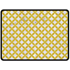 Circles3 White Marble & Yellow Denim (r) Double Sided Fleece Blanket (large)  by trendistuff