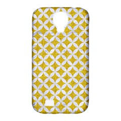 Circles3 White Marble & Yellow Denim Samsung Galaxy S4 Classic Hardshell Case (pc+silicone)