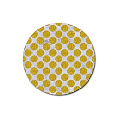 Circles2 White Marble & Yellow Denim (r) Rubber Round Coaster (4 Pack)  by trendistuff