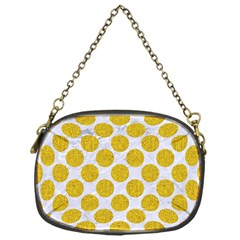 Circles2 White Marble & Yellow Denim (r) Chain Purses (one Side)  by trendistuff