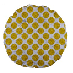 Circles2 White Marble & Yellow Denim (r) Large 18  Premium Flano Round Cushions by trendistuff