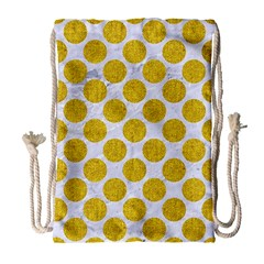 Circles2 White Marble & Yellow Denim (r) Drawstring Bag (large) by trendistuff