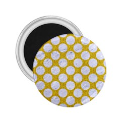 Circles2 White Marble & Yellow Denim 2 25  Magnets by trendistuff