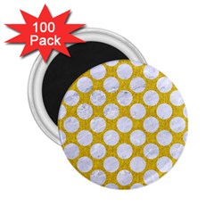 Circles2 White Marble & Yellow Denim 2 25  Magnets (100 Pack)  by trendistuff