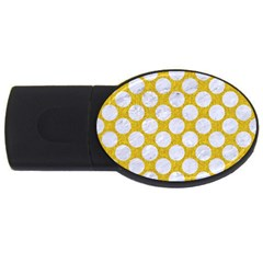 Circles2 White Marble & Yellow Denim Usb Flash Drive Oval (2 Gb)