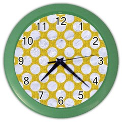 Circles2 White Marble & Yellow Denim Color Wall Clocks by trendistuff