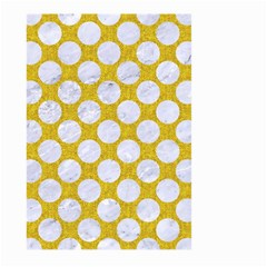 Circles2 White Marble & Yellow Denim Large Garden Flag (two Sides) by trendistuff