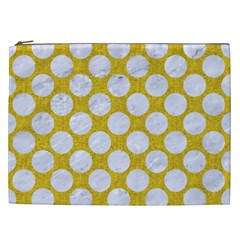 Circles2 White Marble & Yellow Denim Cosmetic Bag (xxl)  by trendistuff