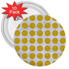 Circles1 White Marble & Yellow Denim (r) 3  Buttons (10 Pack)  by trendistuff