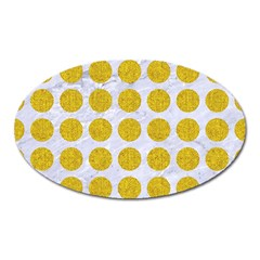 Circles1 White Marble & Yellow Denim (r) Oval Magnet