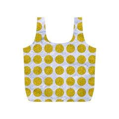 Circles1 White Marble & Yellow Denim (r) Full Print Recycle Bags (s)  by trendistuff