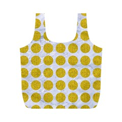 Circles1 White Marble & Yellow Denim (r) Full Print Recycle Bags (m)
