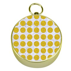 Circles1 White Marble & Yellow Denim (r) Gold Compasses by trendistuff