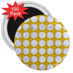 Circles1 White Marble & Yellow Denimcircles1 White Marble & Yellow Denim 3  Magnets (100 Pack) by trendistuff